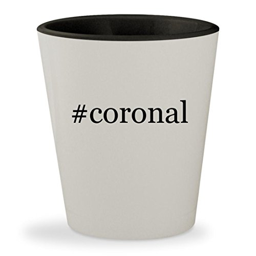 #coronal - Hashtag White Outer & Black Inner Ceramic 1.5oz Shot Glass Queen Elizabeth Ii Wig