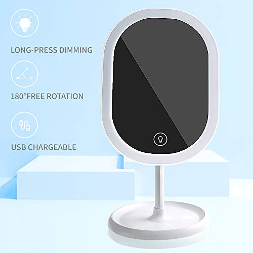 LED Makeup Mirror [Rechargeable],Portable Tabletop Vanity Mirror with Lights, Adjustable Brightness Touch Screen & Base Storage Box Design Ideal for Makeup Lover (White)