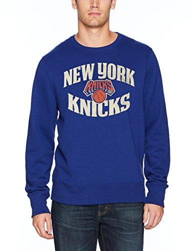 NBA New York Knicks Men's Ots Fleece Crew Distressed, Medium, Royal ()