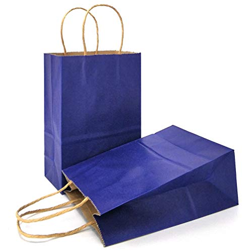 AZOWA Gift Bags Navy Blue Kraft Paper Bags with Handles Party Supplies Set of 25 ()