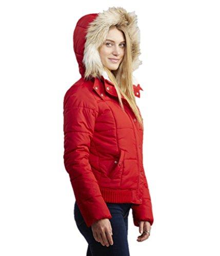 Aeropostale Womens Faux Fur Trimmed Puffer Jacket X-Small Red (Aeropostale Puffer Jacket)