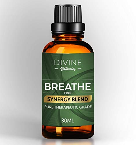 Divine Botanics Aromatherapy Breathe Pure Essential Oil Synergy Blend - For Portable Diffuser Humidifier Inhaler Steamer Vaporizer - For Sinus Cold Flu Cough Allergy Congestion Headache Asthma Relief (Best Vaporizer For Sinus Congestion)