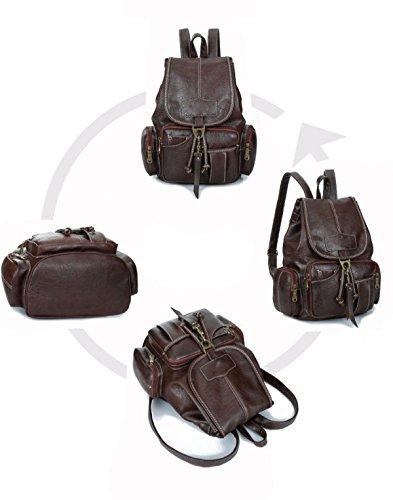 Frauen Hochwertigen Pu-leder Rucksack Unisex Schultern Tasche Daypack Retro Trendy Mode Reisetasche Black