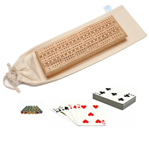 WE Games Deluxe Cabinet Cribbage Set - Solid Oak Wood with Inlay Sprint 3 Track Board with Swarovski¨ Austrian Crystal Pegs, 2 Decks of Cards & Canvas Storage Bag by WE Games