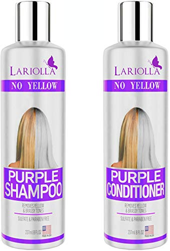 (2-PACK) Best Purple Shampoo and Conditioner for Blonde Hair - Blonde Shampoo for Silver & Violet Tones - Instantly Eliminate Brassiness & Yellows - Bleached & Highlighted Hair - Made in USA - 8oz (Best Toner For Yellow Bleached Hair)