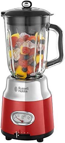 Russell Hobbs Retro 25190-56 - Batidora vaso 800 W, vaso cristal, batidora smoothies, picadora hielo, acero inoxidable, color rojo: Amazon.es: Hogar