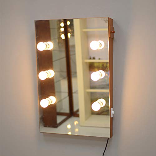 GLS Wooden Wall Mount Lighted Makeup Vanity Mirror Hollywood Large Full Length Rectangular Cosmetic Beveled Mirrors with Dimmable LED Lights