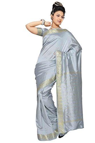 Indian Selections - Gray Art Silk Saree Sari fabric India Golden Border