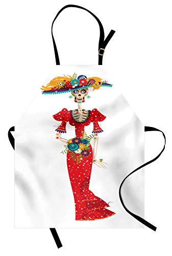Catrina Costume Ideas (Ambesonne Sugar Skull Apron, Hispanic Holiday for Cinco de Mayo Calavera Catrina in Vintage Clothes, Unisex Kitchen Bib Apron with Adjustable Neck for Cooking Baking Gardening,)