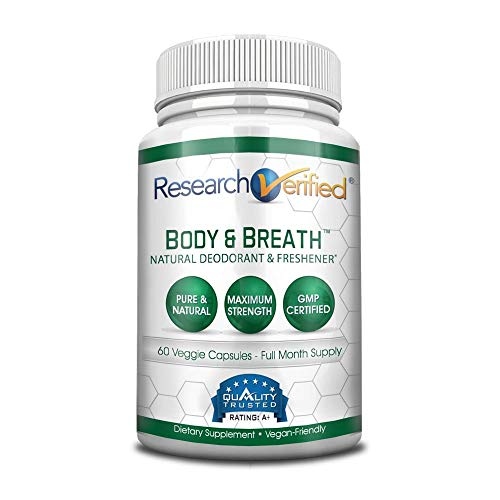 Research Verified Body & Breath Natural Deodorant & Freshener - Bad Breath & Body Odor Supplement - Provides Relief from Offensive Smells While Balancing Good Bacteria - 1 Bottle (1 Month Supply)