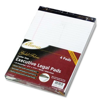 Ampad® Gold Fibre® 20-lb. Watermarked Writing Pads PAD,LGL 4PD/PK LTR ,WHT (Pack of6) by Ampad