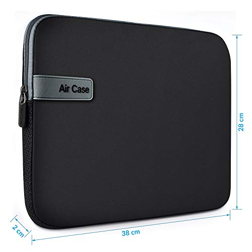 AirCase Laptop Bag Sleeve Case Cover for 14.1 inch Laptop MacBook, Protective, Neoprene (Black)