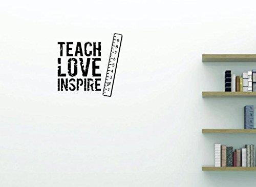 Black 10 x 20 Design with Vinyl Moti 1931 1 Teach Love Inspire Daycare Preschool School Kids Playroom Boy Girl Peel /& Stick Wall Sticker Decal
