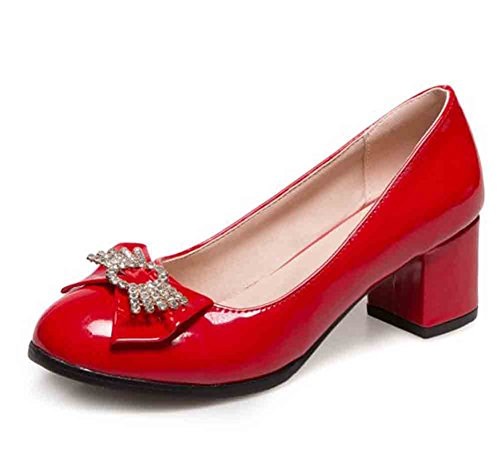 Easemax Womens Bows Rhinestones Patent Round Toe Low Top Mid Chunky Heel Pumps Shoes Red fTkBKL