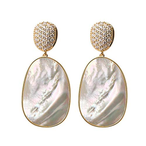 Shell CZ Drop Dangle Earrings For Women Gold Cubic Zirconia Earrings Fashion Statement Big White Seashell Hanging Bridal Charming Dangle Earrings Jewelry Idea Gifts For Mom Sister and Friends