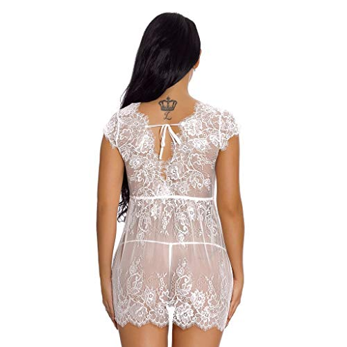 9a49ad49a97 ... WUAI Womens Sexy Lingerie for Sex Plus Size Lace Chemise Halter  Backless Sleepwear Bodydoll Nightwear Outfits ...
