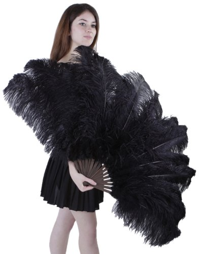 Zucker Feather (TM) - Ostrich Prime Femina Feather Fan - Black by Zucker Feather Products (Image #1)