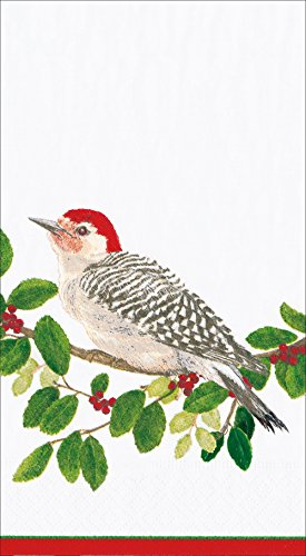 Entertaining with Caspari Winter Songbirds Paper Guest Towels, Pack of 15