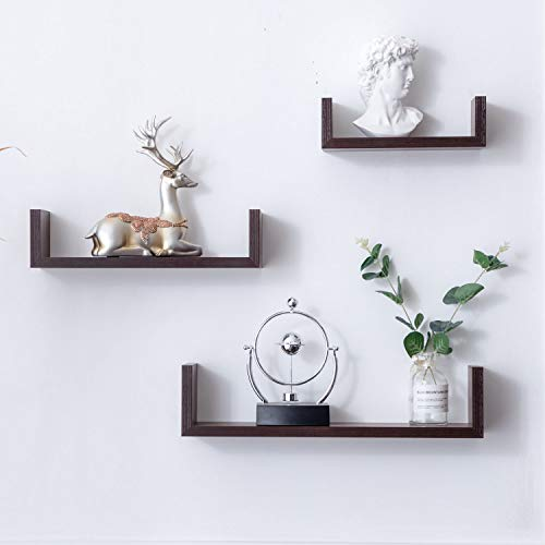 (Umeyn Set of 3 Easy Mounted U Shaped Floating Wall Shelf,Walnut)