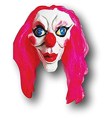 Creepy Surrealist Latex Clown Mask with Hot Pink Wig