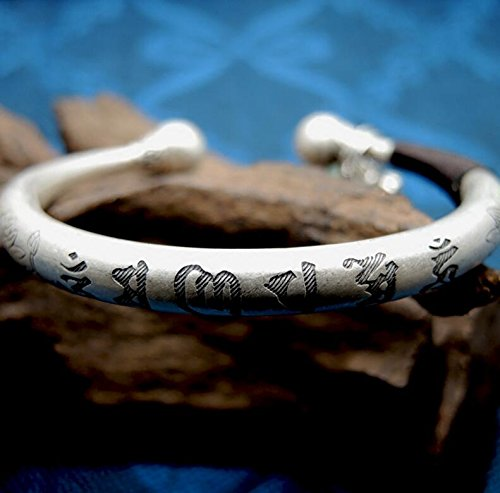 999 Silver Buddhism Retro Om mani padme hum Bracelet Fashion Inscribe Adjustable 25 g