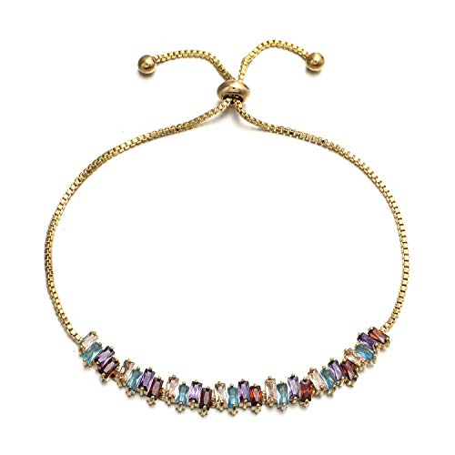 - W WOOGGE Adjustable Women Bracelets Diamond Cut Cubic Zirconia Crystal 18k Rose Gold Slider Tennis Bracelet Girls