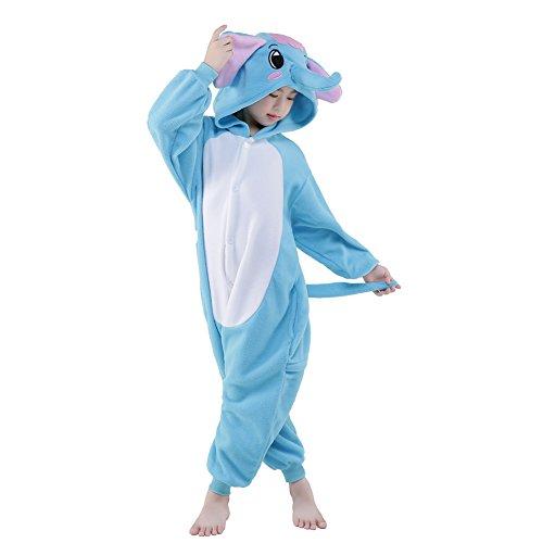 NEWCOSPLAY Children Elephant Fleece Pajamas Unisex Cartoon Costume (125, Blue Elephant)