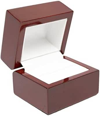 Luxurious Cherry Wood Leather Ring Gift Jewelry Box Display Case