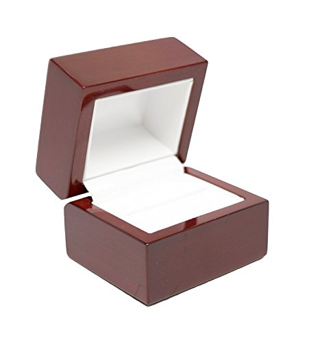 (Luxurious Cherry Wood Leather Ring Gift Jewelry Box Display)