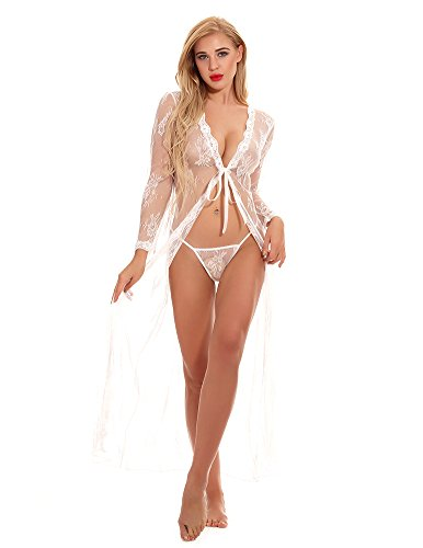 CUNLIN Wedding Sexy See Through Long Lingerie Pregnant Gown Mermaid Dress Coverup Full Outfit For Women Photography White L by CUNLIN
