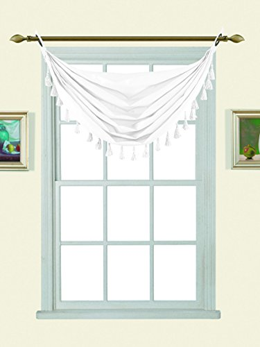 GorgeousHomeLinen (M12) 1pc Solid Elegant Faux Silk Swag Waterfall Antique Grommets Dressing Small Window Valance, w/ Fringes Tassel 50