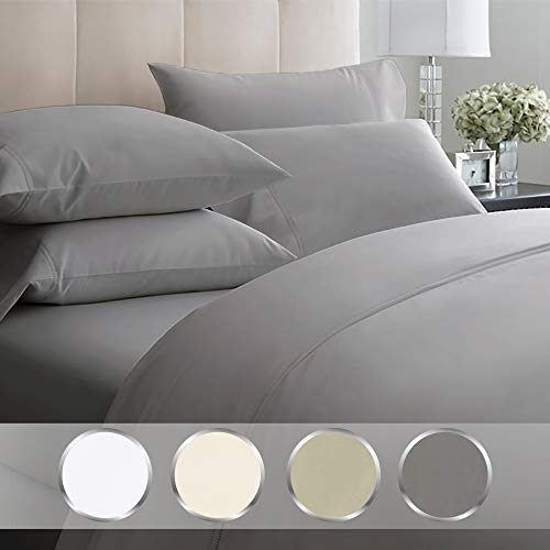 California Design Den Luxury Bedding Set Queen Size – Dark Grey 4 Piece Sheet Set, Egyptian Quality 1000 Thread Count, 100% Pure Cotton Sateen Weave, Deep Pocket Fits Mattress 16 Inches