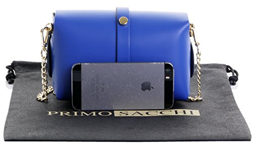 Strap Shoulder Royal Mini Italian Micro Cross Sacchi Chain Evening body Bag Primo Blue Metal With Small Gold Leather Coloured 5aTtwYwxq