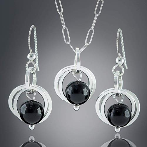 (Black Onyx Real Gemstone Silver Jewelry Gift Set with Dangle Earrings and Pendant Necklace - 18