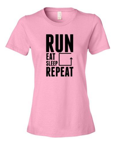 Run Eat Sleep Repeat Tee Shirt Womens M pink N