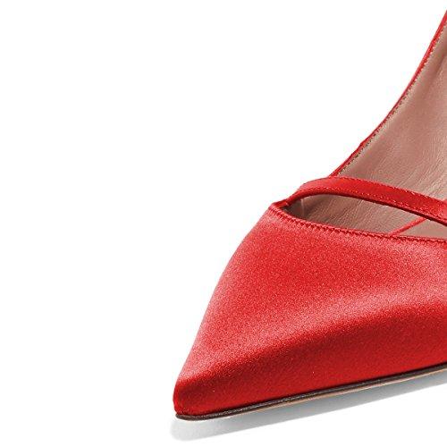 Xyd Donna Scarpe A Punta Slingback Décolleté Cinturino Alla Caviglia Con Tacco Medio E Infradito Sandalo Rosso