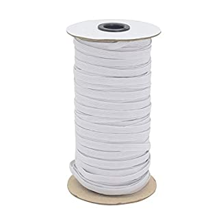 """White 70-Yards Length 1/4"""" Width Braided Elastic Cord/Elastic Band/Elastic Rope/Bungee/White Heavy Stretch Knit Elastic Spool with Free Tape Measure"""