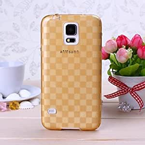 LZX Gold Grid Pattern TPU Soft Case for Samsung S5 I9600