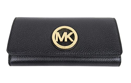 Michael Kors Fulton Flap Black Pebbled Leather Wallet
