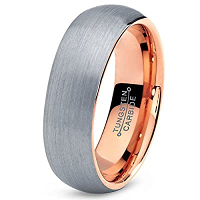 Tungsten Wedding Band Ring 7mm for Men Women Comfort Fit 18K Rose Gold Plated Domed Brushed Lifetime Guarantee