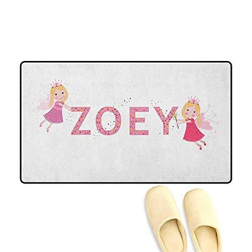 YGUII Zoey Bath Mat 3D Digital Printing Feminine Themed Baby Girl Name Magic Creatures Calligraphic Alphabet Letter Design 16X23.6in (40x60cm) Multicolor