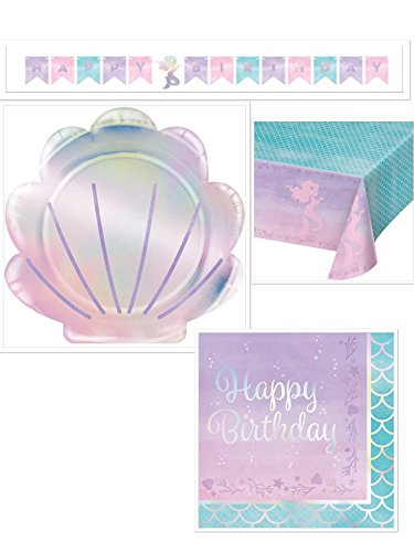 Olive Occasions Mermaid Happy Birthday Party Supplies Serves 16 Mermaid Shaped Plates, 16 Napkins, Table Cover, Banner, Grandma Olive's Recipe]()