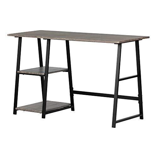 South Shore 12111 Evane, Oak Camel Industrial Desk with Storage,