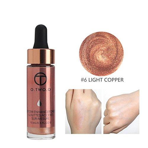 O.OWO.O Face Glow Liquid Highlighter Waterproof Contour Make Up Glitter Brighten Shimmer Highlighters Makeup (06-LIGHT)