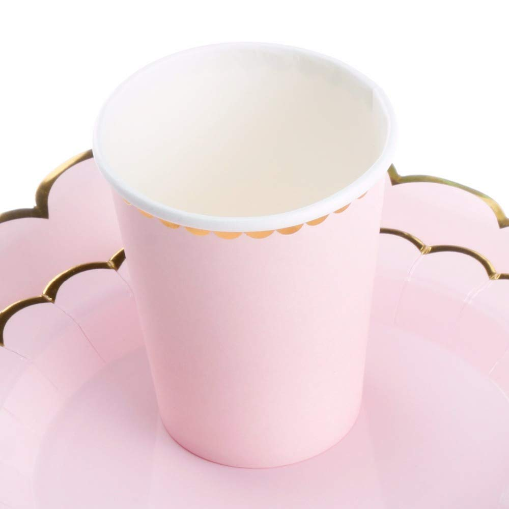 Culturemart 10pcs Makaron Pink Paper Cups Disposable Tableware Wedding Birthday Decorations Baby Shower Theme Festival Kids Girls Boys