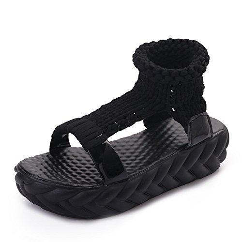 Verano zapatos casuales suela gruesa/Open-dedo del pie color sólido botas B