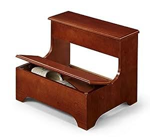 Amazon Com Cherry Finish Wood Bedside Step Stool Storage