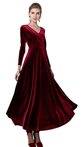 Urban CoCo Women Long Sleeve V-Neck Velvet Stretchy Long Dress (X-Large, Wine -