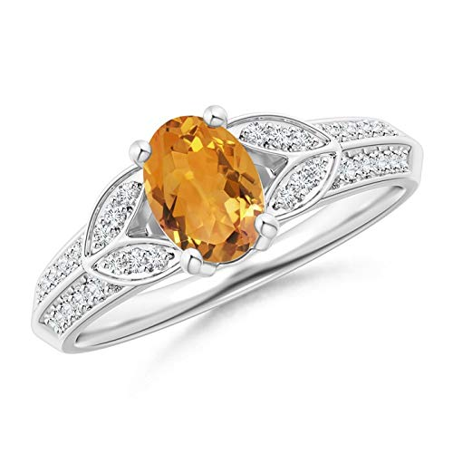 Knife-Edged Oval Citrine Solitaire Ring with Pave Diamonds in 14K White Gold (7x5mm Citrine)