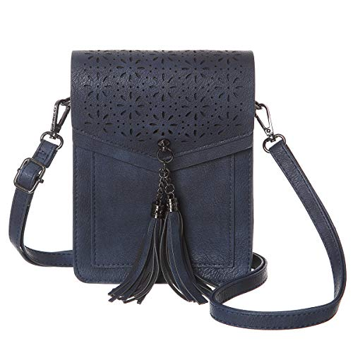 MINICAT Fringe Thicher Pocket Small Crossbody Cell Phone Purse Wallet For Women With Credit Card Slots (Dark Blue)